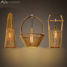LFH Chinese style hand made bamboo pendant lamp bucket/basket pendant lights for living room bedroom cafe home lighting fixtures(China)