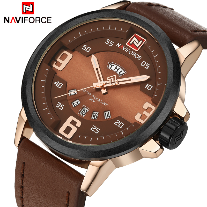 NAVIFORCE TOP Luxury Brand Men Sports Watches Mens Quartz Date Clock Male Leather Army Military Wrist Watch Relogio Masculino<br><br>Aliexpress