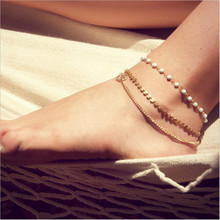 2017 Vintage barefoot sandals Multilayer gold chain ankle bracelet fashion White Beads anklets For women foot Beach jewelry(China)