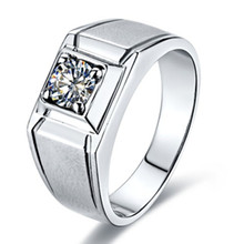 Factory Moissanite Diamond Ring for Men Gold Jewelry Positive 1CT Diamond Male's Finger Ring Solid 14K White Gold Ring Male Ring(China)