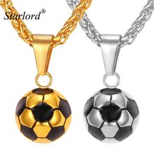 Starlord Football Soccer Pendant Necklaces Ball Enamel Jewelry Sporty Fashion Gold Color Stainless Steel Chain Men Bijoux GP2299(China)