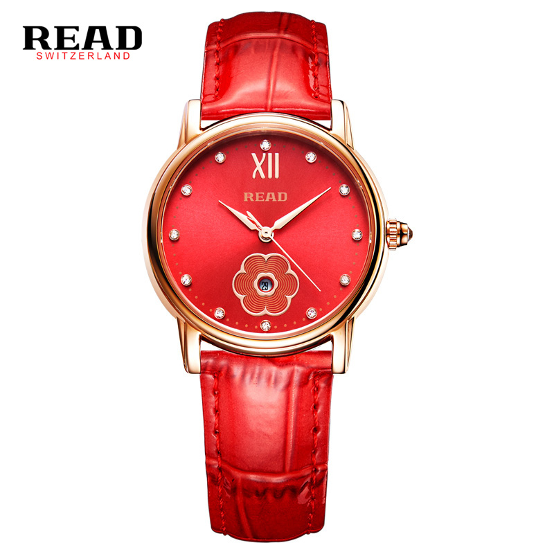 READ brand new fashion trends red mujer sapphire women watches 2017 with flower reel strap for leather quartz 6091 Analog L51<br>