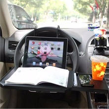 Foldable Notebook Stand Car Laptop Holder Back Seat Drink Holder Car Organizer Dining Table Tablet Car Holder Travel Food Tray(China)