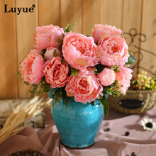 Luyue Belas flores Artificial peony Bouquet Flowers silk Vivid Peony Wedding  Party Decoration flore