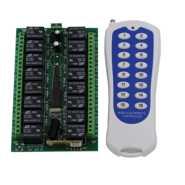 Hot Sales DC12V 16CH RF Wireless Remote Control Switch System 1pcs 16Key Transmitter + 1pcs 16CH Receiver 315/433.92 MHZ<br>