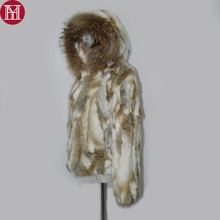 2017 New Style Natural Real Rabbit Fur Coat Women Fashion Winter Rabbit Fur Short Jacket Real Genuine Rabbit Fur Hooded Overcoat