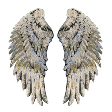 1Pair Fashion Gold/Silver Wings Sequins Patches For Clothing Iron-on Embroidered Patch Motif Applique DIY Accessories(China)