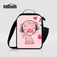 Dispalang Thermal Insulated Lunch Bags For Girls Cartoon Portable Cooler Picnic Food Bag Music Small Kids Lunchbox Bolsa Termica