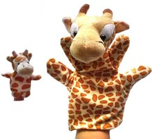 BOHS Plush Hand and Finger Puppet Set Eagle Giraffe Family Parenting Story Time Animal Kit 1set=2pcs(China)
