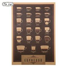 1 Pcs Espresso Nostalgic Restoring Ancient Ways Italy Coffee Kraft Paper Wall Stickers Shop Wall Decoration(China)