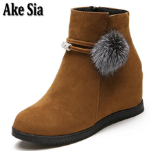 Ake Sia Womens Stylish Fuzzy Ball Autumn Winter Warmth Snow Martin Ankle Boots Slip-On High Platforms Bottine Shoes Booties F274(China)