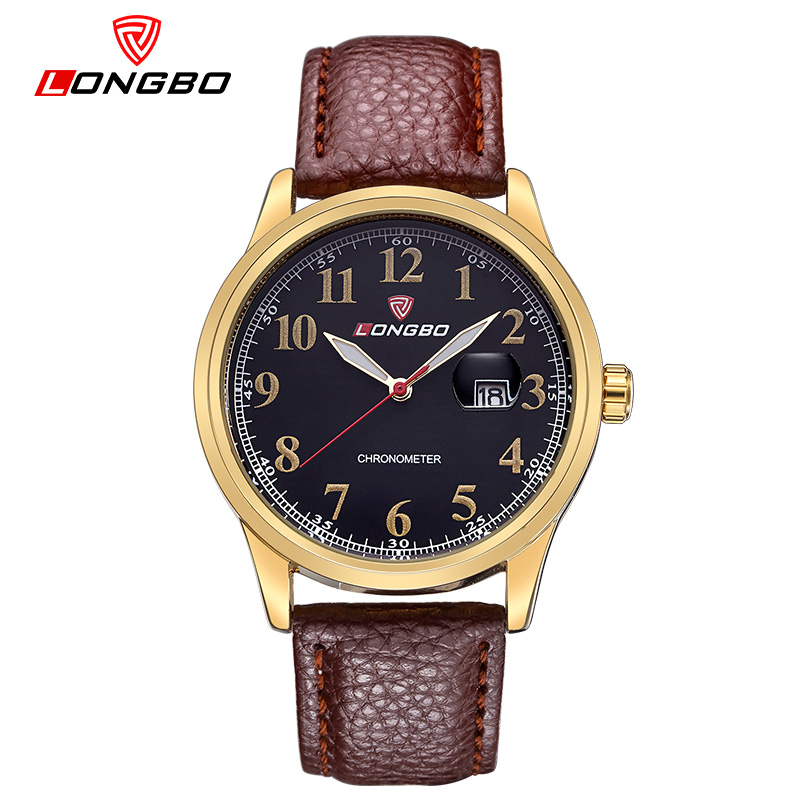 LONGBO Brand Auto Date Quartz Watch Men Watch Fashion Luminous Watches Waterproof Leather Watch Hour montre homme reloj hombre<br><br>Aliexpress