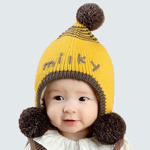 New Arriving Baby Knitted Winter Cap Milky Letter Print Korean Style Kids Cap Ball Decoration Child Caps Hair Accessories(China)
