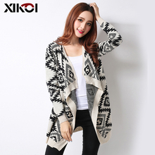 XIKOI Autumn Fashion Women's Knitted Cardigans Sweaters Coat Long Sleeve Casual Oversized Sweater Ladies Argyle Sweaters Coats(China)