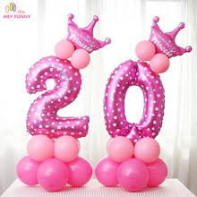HEY FUNNY 40 inch Number Foil Balloons Wedding Decoration Birthday Party Heart Digit Inflatable Helium Balloons Holiday Supplies
