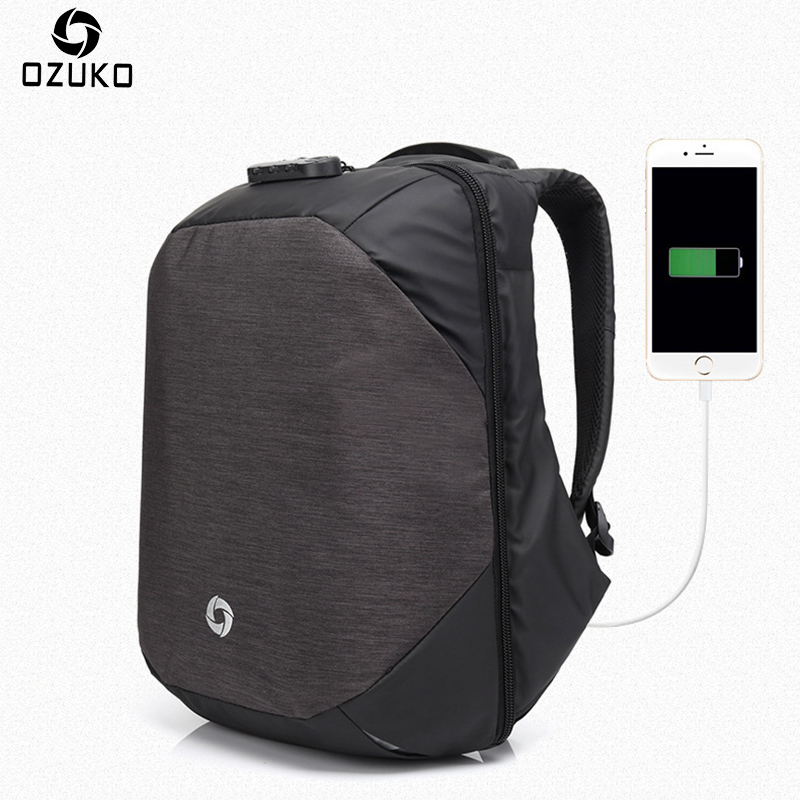 Ozuko Men Backpacks USB Charge Computer Backpack Password Lock 15.6Inch Laptop Bags Casual Three-dimensional Anti-theft Backpack<br>