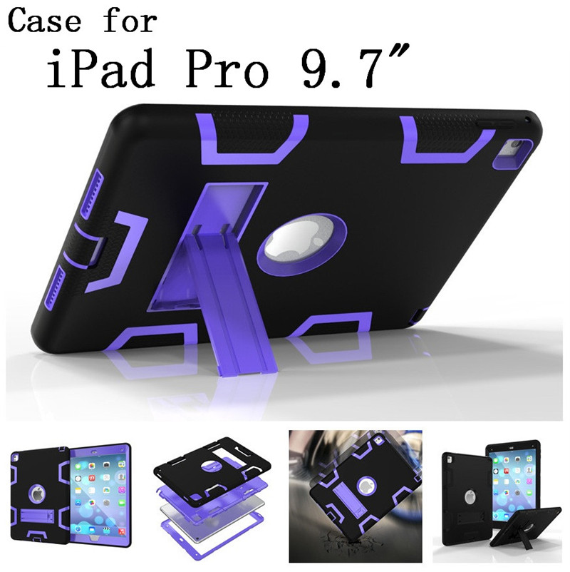 Original quality Hard Silicone Rubber with stand Case Cover For Apple iPad Pro 9.7 inch display for Apple iPad logo,SKU 0114BLE<br><br>Aliexpress