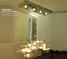bar living room lights restaurant LED bubbles flying fish lighting hotel creative crystal chandelier.G4(China)