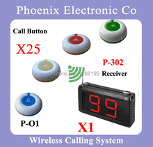 Whole Set Of Wireless Waiter Calling System Including 25pcs Table Call Button O1B And 1 Display Receiver P-302(China)