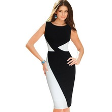 Womens Classic Black and White Colorblock Patchwork Dress O Neck Sleeveless Wear to Work Party Bodycon Sheath Pencil Dress 78