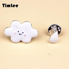 Timlee X084  Free shipping Cute White Cloud Rain Alloy Brooch Pins,Fashion Jewelry Wholesale Nice Gift