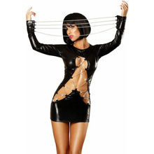 2017 Hot Sexy Female Black Faux Leather Latex Catsuit Hollow Out Dress Body Chain Bondage Corset Teddy Couple Seduce Sex Toys