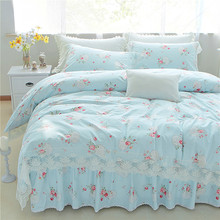 4PCS 100% Cotton Princess style bedsheets lace luxury bedding set Full size bed set queen king duvet cover white color bed line