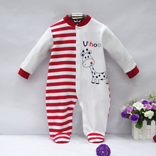 2017 pure cotton newborn boy romper baby girl clothes cute infant sleepwear winter spring hot kid long sleeve clothing suit(China)