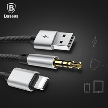 Baseus 2IN1 AUX Cable For iPhone Charging and Audio Adapter Cable For iPhone 8pin to 3.5mm Jack Speaker Headphone Car Aux Cable