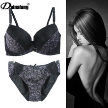 Big Size 34 36 38 40 D DD E Cup Black Intimate Lingerie Set Lace Floral Underwear Bra Sets Push Up Bra and Panty Set For Secret