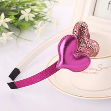 new cute boutique baby girls bling glitter leather heart headbands headwear hair clasp accessories ornaments for children MT-53