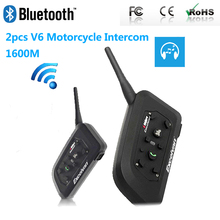 Paired V6 Bluetooth Motorcycle Intercom BT Multi Interphone Wireless Headphones Helmet Headset Accessories 1200M for 6 Riders(China)