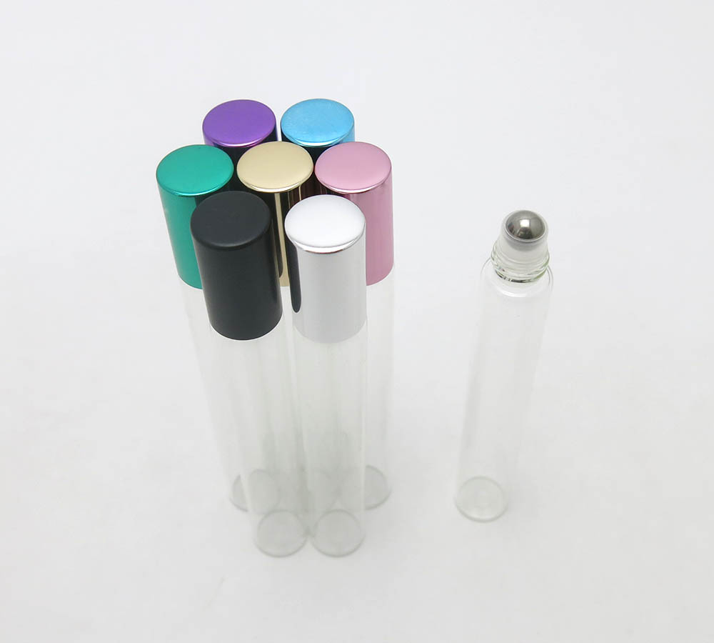 New Arrived 500 X 12ml clear tubular perfume roll on bottle, 12cc thin tall glass vials with stainless steel ball(China)