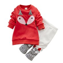 Autumn children clothing set warm plus velvet thick Fox Lovely 2PCS winter baby girl set Long Sleeve Tops+Pant kids suits cotton