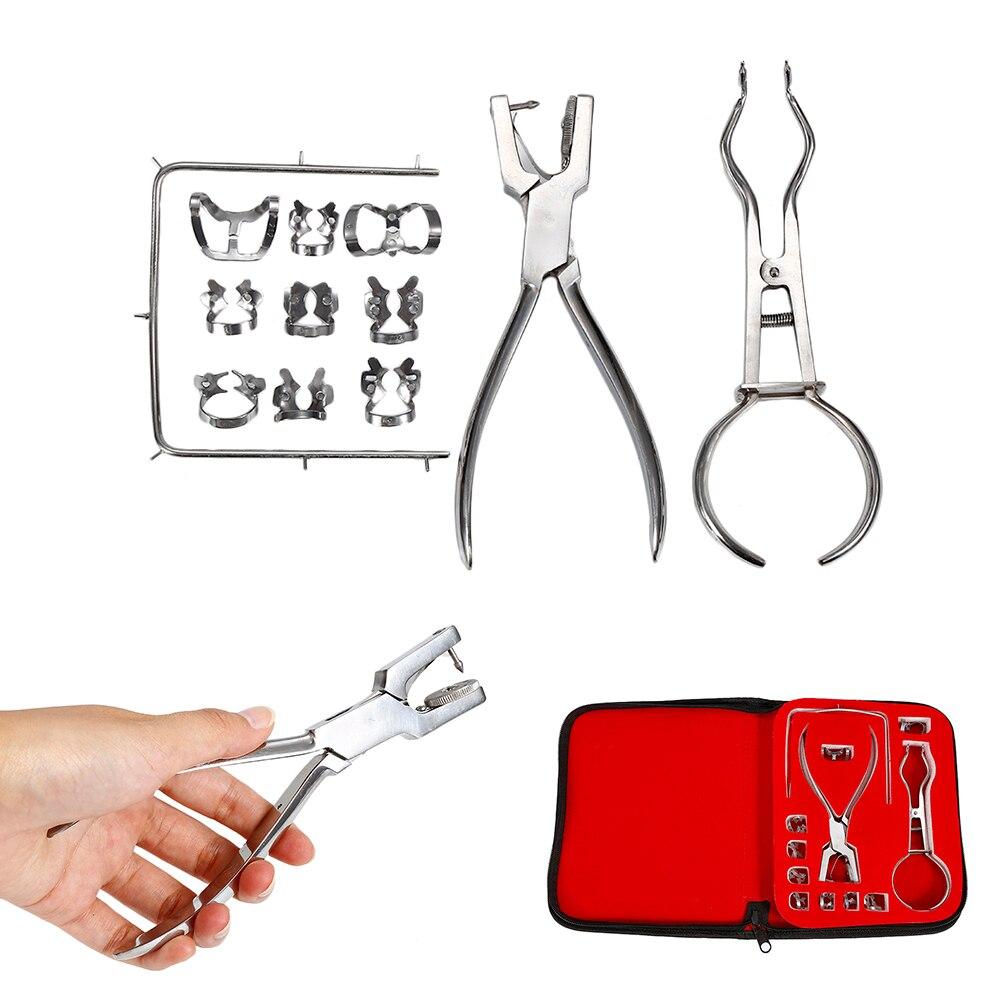 12Pcs/Set Teeth Care Dental Dam Perforator Dental Dam Hole Puncher Dental Dam Puncher Dental Surgical Instruments + Bag<br>