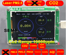S8 M5 CO2 Sensor PM2.5 PM1.0 PM10 Co2 detector PM2.5 dust haze Laser sensor with Temperature and humidity TFT LCD with battery