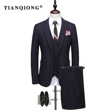 TIAN QIONG Man Suit Slim Fit 2017 New Arrival Blue and Navy Wedding Suit for Men Korean Fashion 3 Piece Mens Formal Suits QT202(China)
