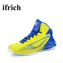 Big Size Sneakers High Men Black/Yellow Sport Shoes Men Leather Non-Slip Training Shoes Women Damping Outdoor Basketball Shoes