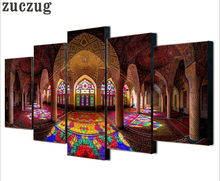 Framed Modular Islam Building Picture Art Poster Print On Canvas Wall Art Picture For Home Decoration Islam Painting 5 pieces(China)