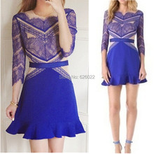 Party Queen Hot Sale Women's Sexy Blue Eyelash Lace Dress O-neck 3/4 Sleeve Fitted Ruffles hem Short Dress