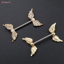 Starbeauty 2pcs/lot Angel Wing Nipple Piercing Mamilo Sexy Women Nipple Ring Body Jewelry Cute Fake Nipple Cover Pircing Gift(China)