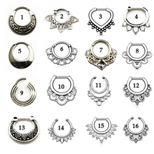 Buy Tribal Fan Real&Fake Piercing Septum Clicker Flower Petals CZ Gem Nose Rings Jewelry for $1.05 in AliExpress store