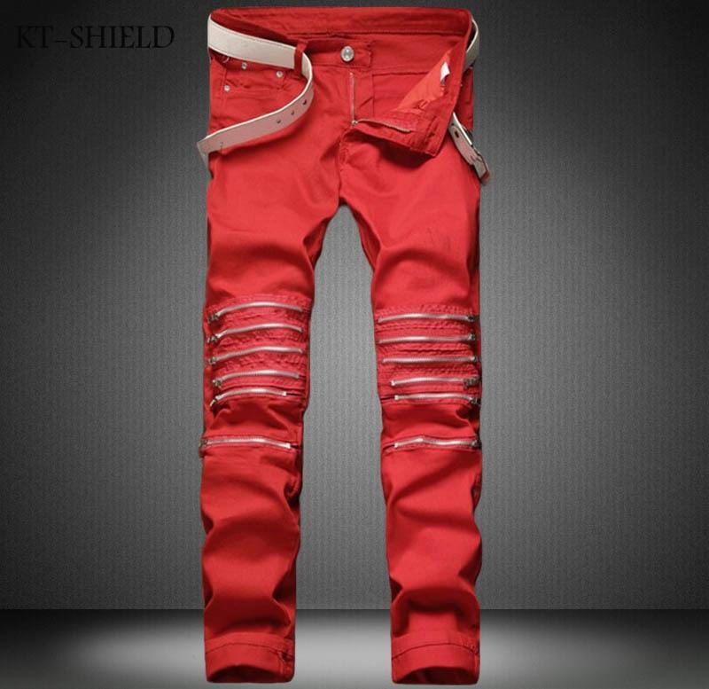 Ripped jeans men famous brand denim jeans elastic casual mens trousers Solid color vaqueros hombre cotton men red zipper pantsОдежда и ак�е��уары<br><br><br>Aliexpress