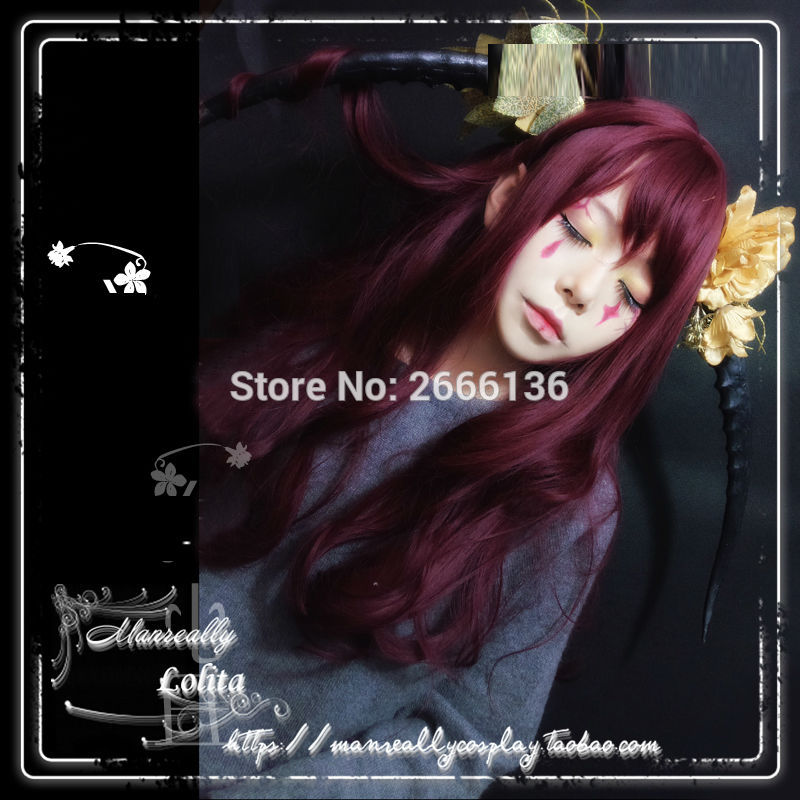 65cm Red wine cosplay wig Long hair curly hair lolita daily wig Heat resistance fibre Harajuku girl wig free shipping+Cap<br><br>Aliexpress