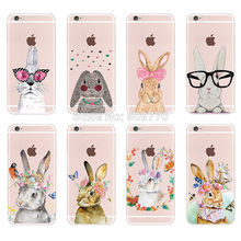 Cute Rabbit Romantic illustration Case Cover For iphone 5 5s SE 6 6s Plus Transparent Silicone Cell Phone Cases For Galaxy S6 S7