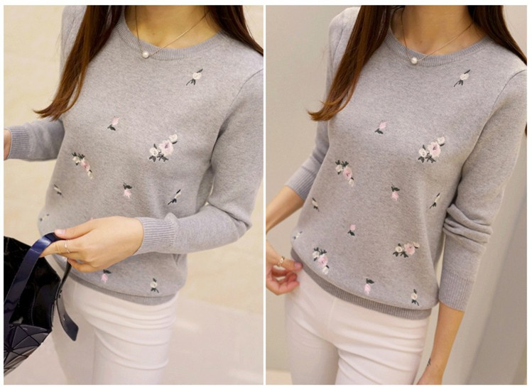 S-3XL New Youth Women's Sweater Autumn Winter 17 Fashion Elegant Peach Embroidery Slim Girl's Knitted Pullover Tops Female 10