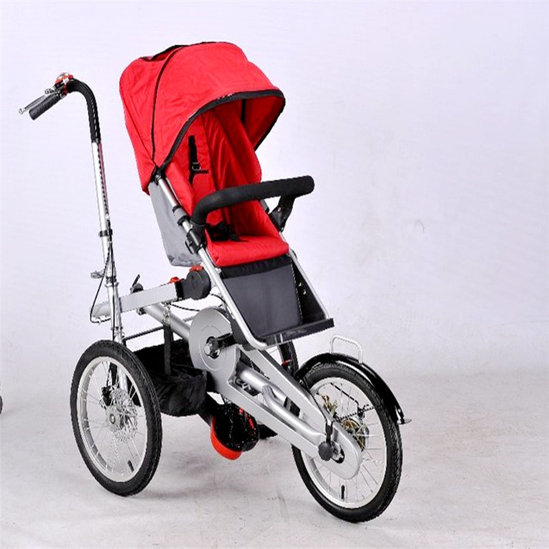 2018 Mother Baby Car Bike Stroller Parent-Child Twins Bicycle Strollers Foldable Baby Trolley Rain Cover/Mosquito Net