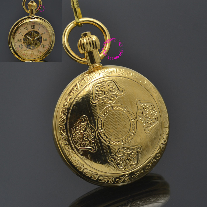 Men Mechanical Pocket Watch Roman Classic Fob Watches Flower Design Retro Vintage Gold Ipg Plating Copper Brass Case Snake Chain<br>
