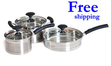 Free shipping Top Quality 18/10 6PC Of Stainless Steel Cookware Set With Capsule Induction Base