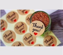 600pcs Heart Shape Kraft Seal Label Sticker Thank You Sticker Kraft Stickers For Party Favor Gift Bag Candy Box Decor 4 design